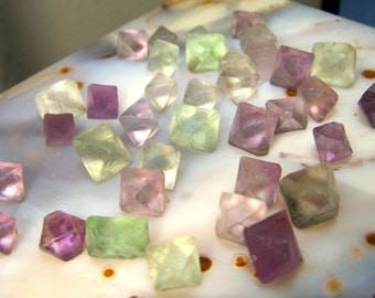 3 Purple and Green Fluorite octahedron crystals - geometric cube diamond small  - natural raw specimen light gemmy random coyoterainbow