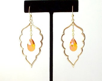 Gold Dangle Earrings - Swarovski Crystal, Brass - Pink, Orange - The Bohemian: Large Leaf Teardrop