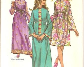 1970s Sewing Patterns - Fashion Designer - Bohemian Robe - Kimono Sleeves - Boho Fashion - Hipster Fashion -  Simplicity 9248 - Bust 36