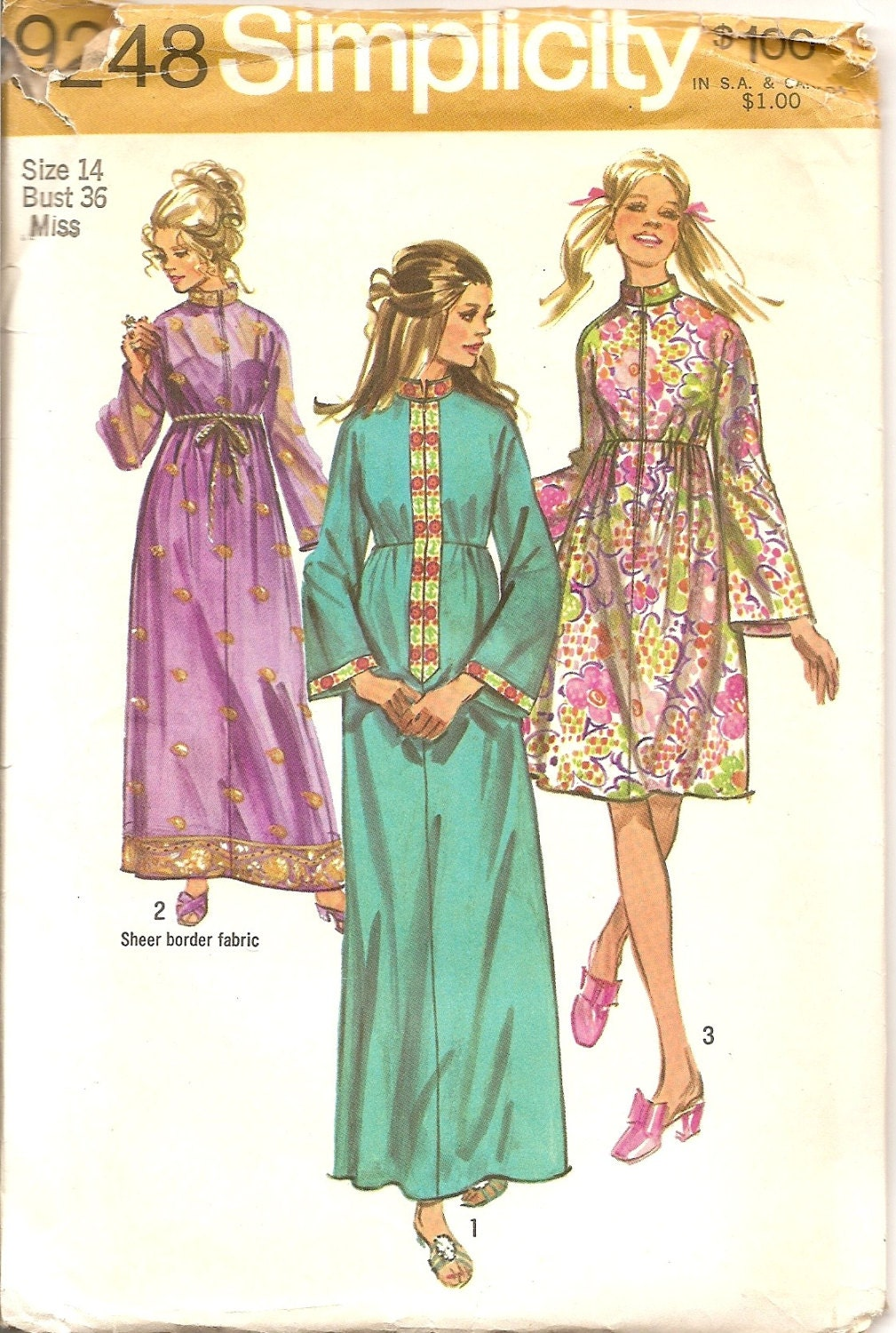 1970s Sewing Patterns Fashion Designer Bohemian Robe