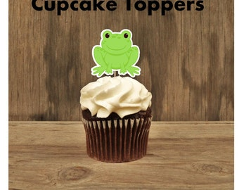 Frog Party - Set of 12 Frog Cupcake Toppers by The Birthday House