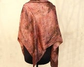 Square scarf hand dyed eco print Dusty pink