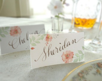 Romantic Rose Watercolor Wedding Reception Place Cards with Hand Written Calligraphy