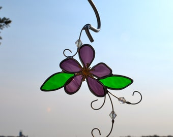 Woodland Violet  Stained Glass Suncatcher
