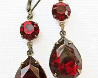 Christmas Party Jewelry - Ruby Red Crystal Earrings - Dangle Earrings - Victorian Earrings - ANGELINA Ruby
