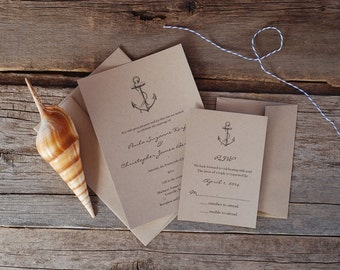 SPECIAL! - Anchor Vintage Wedding Invitation Suite - Nautical Seaside Beach Love - Place Card * Thank You * Menu * Program - Logo