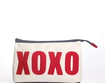 XOXO accessory pouch from eco-friendly materials