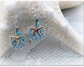 RESERVED FOR PAT G - Ocean Blue 'Fish Net' Starfish Earrings