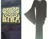 VINTAGE BIBA London angel sleeve gown RARE midnight blue 60s 70s