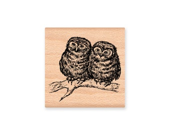 OWL COUPLE STAMP Owls Owl friends rubber stamp love birds rustic wedding anniversary valentine two sizes large small (59-14L) (30-03S)