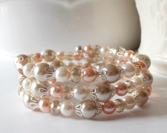 Peach Pearl Bracelet, Beaded Bridesmaid Jewelry, Stacked Bangle, Peach and Beige Bridal Party Gift