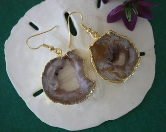 Geode Earrings, Crystal Slice Earrings, Agate, Druzy Gold Earrings, G3