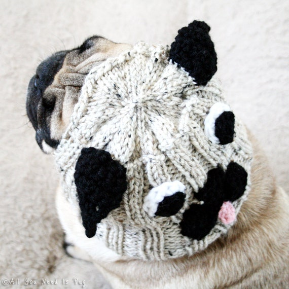 Pug Hat for Dogs - Dog Hat - Dog Costume - Dog Clothing - Pug Costume