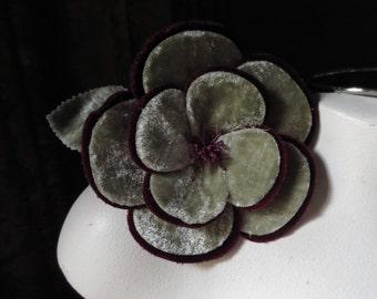 Velvet Millinery Flower in Green & Plum  for Bridal, Hats MF 110gp