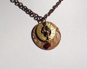Carnelian Key Charm Steampunk Charm Pendant Necklace
