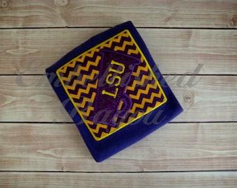 Appliqued Megaphone Patch LSU Inspired Purple Onesie Monogram Optional