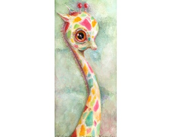 Colorful Giraffe Print, Nursery Art, Big Eye Art, Pop Surrealism, Lowbrow Art Print, Childrens Decor, Whimsical Art, Giclee, Matted Print