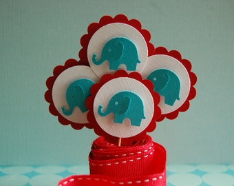 Turquoise Blue, Red and White Elephant Embellishment Cupcake Topper Picks -Baby Shower-First Birthday Party--Set of 6  -- Ready to Ship