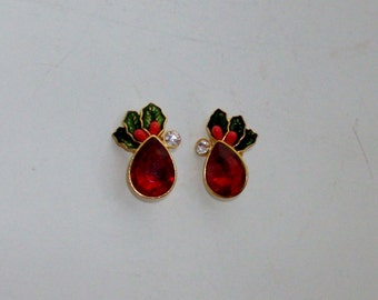 Goldtone Red Rhinestone Holly Christmas Earrings by Avon