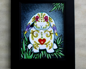 CLEARANCE - Day of the Dead Lop Eared Bunny Rabbit in White Sugar Skull Art Print - 8 x 10 - Prints for Pits Rescue Donation