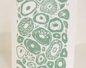 Sage Green Seed Pods Linocut Art Print & Envelope
