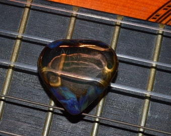 Guitar Pick in Green Amber Purple - Color Changer - Handblown Glass