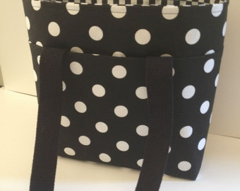 Black & White Polka Dot Tote with Checkerboard Lining