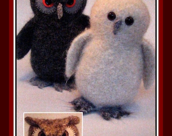 Charming Knit & Felt Wool Owl Instruction Booklet- Rounded Head and Tufted Ear Owls- 7.5 Inches Tall- New Booklet