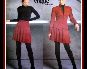 CLAUDE MONTANA-Vogue Paris Original-Sewing Pattern-Jacket-Raised Neckline Lined-Princess Seams- Flared Short Skirt-Uncut-Size 8-12- Rare