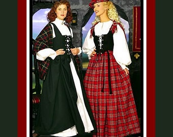HIGHLAND BEAUTY-Designer Costume Sewing Pattern-Historical Celtic Dress-Lace-Up & Boned Corset-Skirt-Hat-Shawl-Blouses-Size 6-12-Uncut-Rare