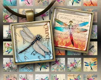 Printable Clip Art download DRAGONFLIES Digital Collage Sheet 1x1 inch and 7/8x7/8 inch size images for pendants magnets bezel settings