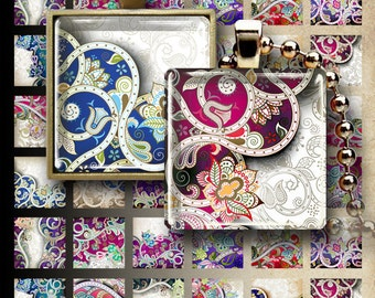 Printable 1x1 inch and 1.5x1.5 inch images ORNATE FLOWERY Digital Collage Sheets for pendants magnets bezels charms print-it-yourself paper