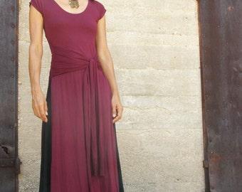 Summer wrap dress-Maxi dress - Womens dress  in bordaux-Bordeaux Tibetan dress -short sleeves dress-custom dress
