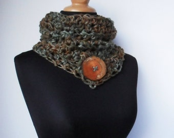 Big Button Cowl in Mulitcolor Hand Painted Woodland Hemp Wool Neck Warmer Thick Chunky Scarf Eco Friendly Ready to Ship