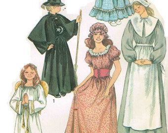 Pilgrim Puritan Gown Prairie Dress Colonial, Witch, Angel Halloween Costume Simplicity 5741 Sewing Pattern Child Girls Size 6 8