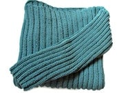 Sweater Pullover Po'Boy Style Seaspray Aqua in Ribbed Knit in Cotton with Acrylic