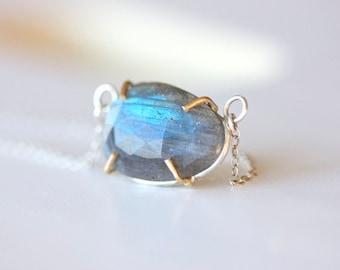 Labradorite and Gold Necklace - Labradorite Rose Cut Gemstone Necklace in 14k Gold and Sterling Silver - Prong Set Gem