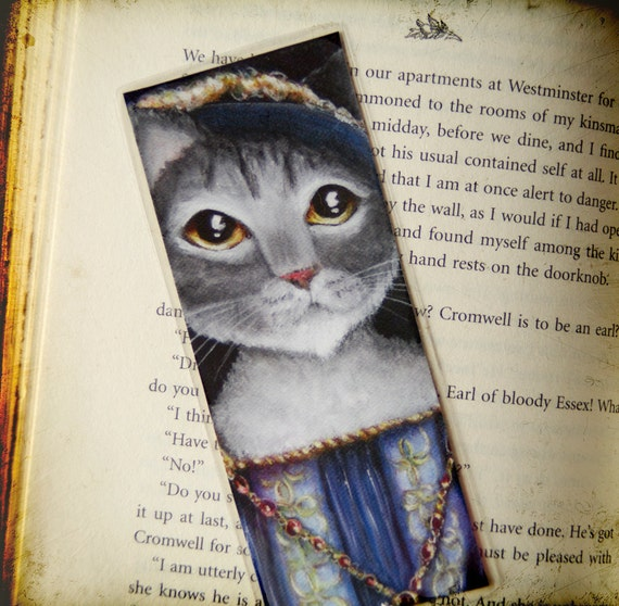 French Cat Bookmark King Frances of France Grey Tabby Cat Bookmark