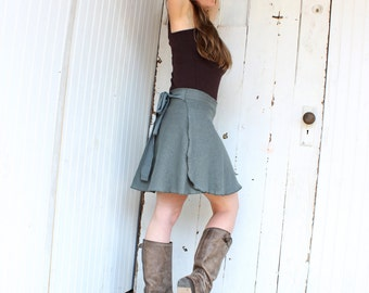 Hemp and Organic Cotton Short Wrap Skirt - Many Colors to Choose From - Made to Order
