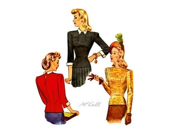 40s Blouse Pattern, McCall 4452, Womens Fitted Blouse, Sleeve & Collar Variations, Bust 34, Formal Blouse Vintage Sewing Pattern