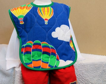 Full Coverage X-Large Toddler Bib Retro Hot Air Balloon Baby Gift Boy Toddler Gift Kids Gift Baby Boy Gift Vintage 1980s Quilted Cotton Bib