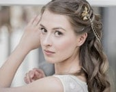 Bridal Hair Chain, Antique Bridal Hair Wrap ,Floral Headpiece, Gold  Bridal Wreath, Forehead Chain , Hair Swag, Gold Hair Piece