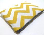 iPad Mini Case, iPad Mini Sleeve, Samsung Galaxy Tab Case, Amazon Fire HD Case, Amazon Fire Kids, Padded Zipper Case, Yellow Chevron Fabric