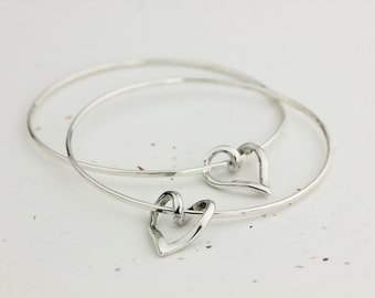 Entwined Heart Bangle - Handmade Sterling Silver Bangle with Sterling Silver Open Heart - This listing is for ONE bangle bracelet.