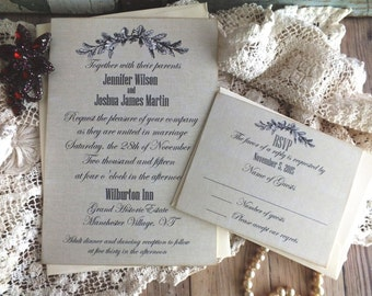 Vintage Romantic Elegant Grey Linen Background Wedding Invitation Handmade by avintageobsession on etsy