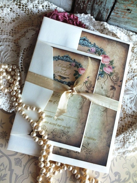 CUSTOM ORDER Deposit for Maria Coonley...Vintage Handmade Wedding Invitation Suite SAMPLE by avintageobsession on etsy