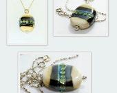 Ivory & Black Lampwork Pendant Necklace SRA SRAJD