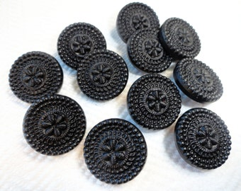 Antique Black Glass Buttons - Elegant Victorian Vintage Buttons