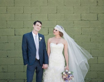 """Wedding Juliet Cap Veil with lace detail in off white """"Lillian"""""""