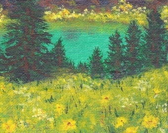 Colorado Original Mountain Spring Lake Landscape Painting Meadows of Wildflowers Evergreens OOAK Small Format Art